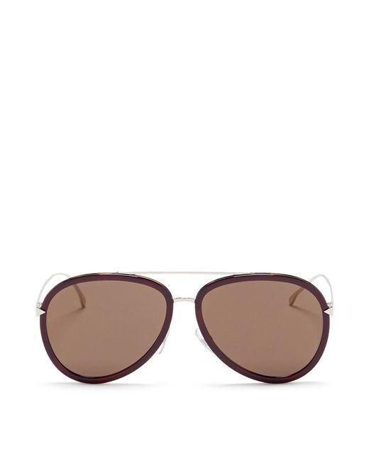 Fendi | Brown 'funky Angle' Acetate Rim Metal Aviator Sunglasses | Lyst