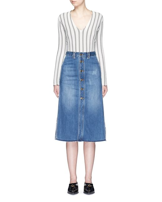 mo co edge denim button up skirt in blue lyst