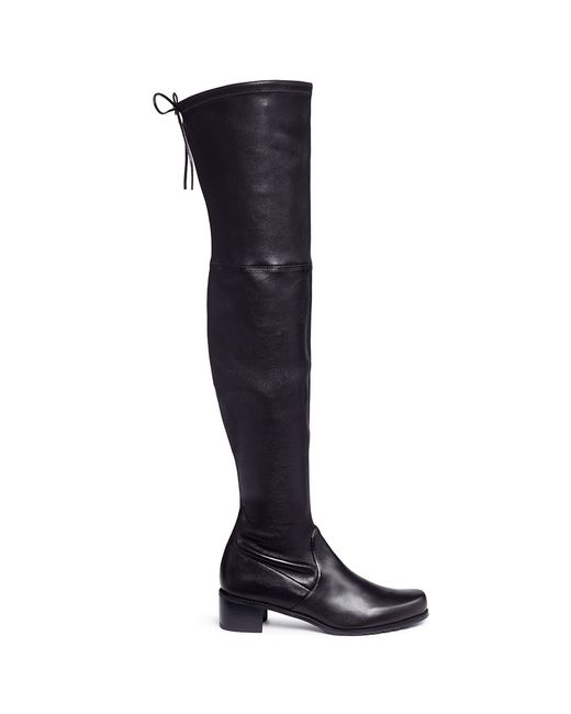 Stuart Weitzman | Black Midland Stretch-Leather Over-The-Knee Boots | Lyst