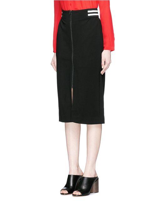 mo co stripe waist jersey pencil skirt in black lyst