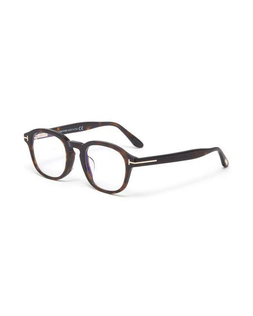 Tom Ford Brown Blue Light Filter Square Tortoiseshell Effect Acetate Frame Optical Glasses for men