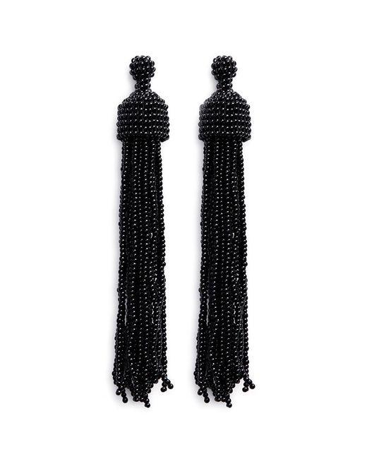 Kenneth Jay Lane | Black Beaded Tassel Drop Earrings | Lyst
