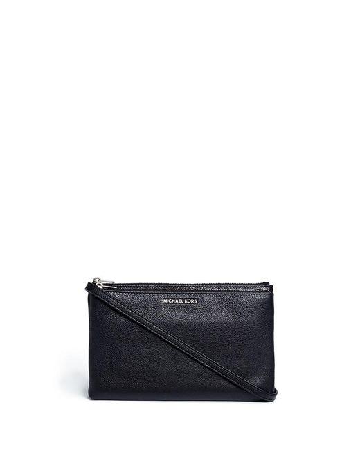 Michael Kors | Black 'adele' Double Zip Leather Crossbody Bag | Lyst