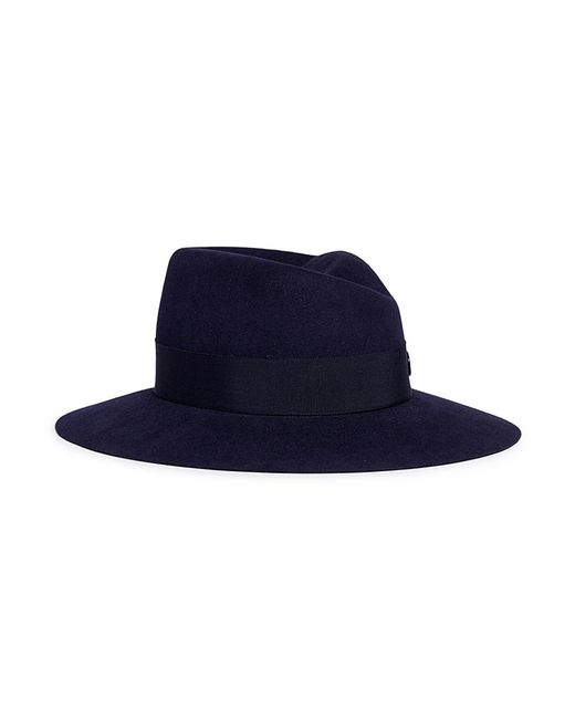 Maison Michel - Blue 'virginie Timeless' Rabbit Furfelt Fedora Hat - Lyst
