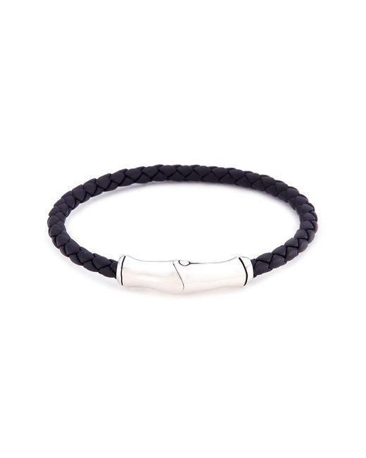 John Hardy - Metallic Braided Leather Bamboo Silver Bracelet for Men - Lyst