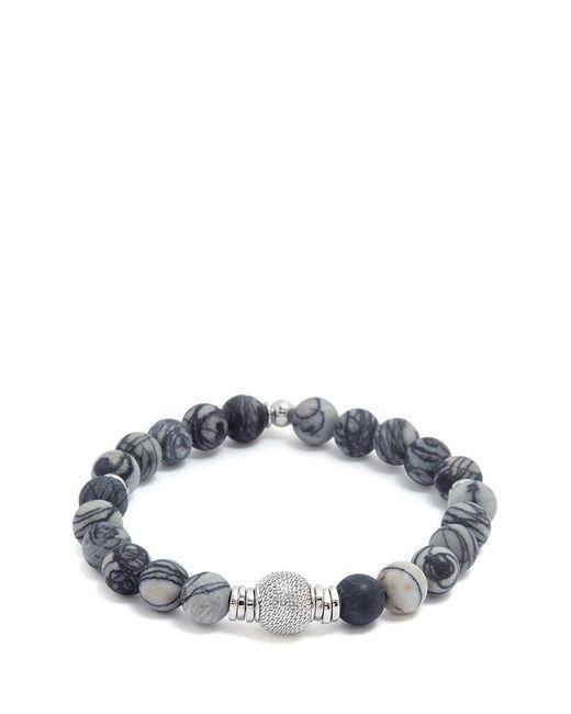 Tateossian - Gray 'stonehenge' Spiderweb Jasper Silver Bead Bracelet - Lyst
