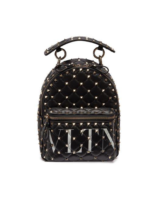 Valentino Black Garavani 'rockstud' Logo Print Mini Quilted Leather Backpack