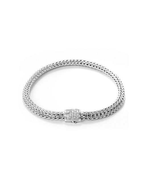 John Hardy - Metallic Diamond Silver Extra Small Woven Chain Bracelet - Lyst