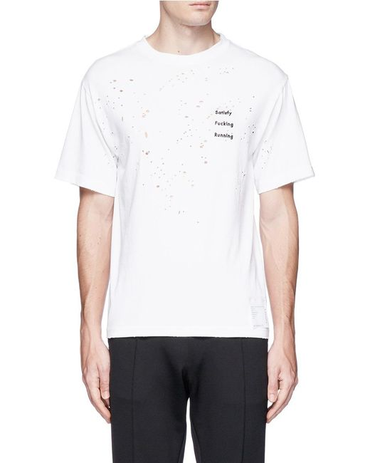 Satisfy | White Slogan Appliqué Moth-eaten Running T-shirt for Men | Lyst