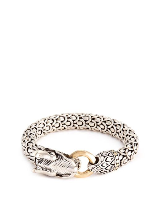 John Hardy | Metallic 18k Gold Silver Large Scaly Dragon Bracelet | Lyst