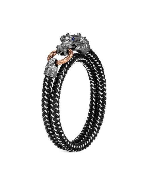 John Hardy Metallic 'legends Naga' Sapphire Rhodium Silver Double Wrap Bracelet for men