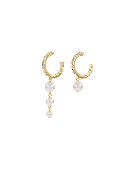 Joomi Lim - Metallic Mismatched Swarovski Crystal Faux Pearl Drop Hoop Earrings - Lyst