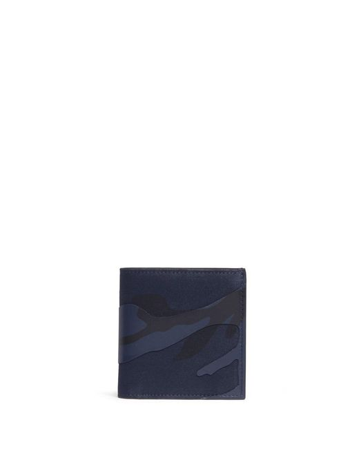 Valentino - Blue Camouflage Print Leather And Canvas Bifold Wallet for Men - Lyst