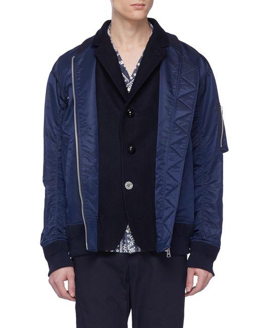 Sacai - Blue Melton Blazer Panel Bomber Jacket for Men - Lyst