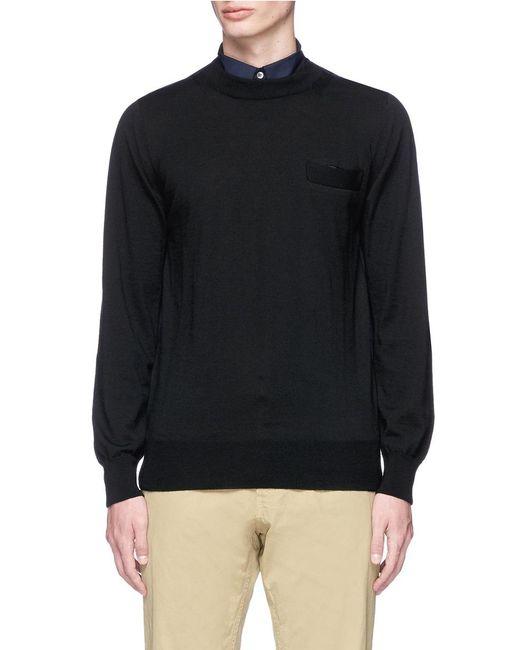 Sacai | Multicolor Contrast Collar Wool Sweater for Men | Lyst