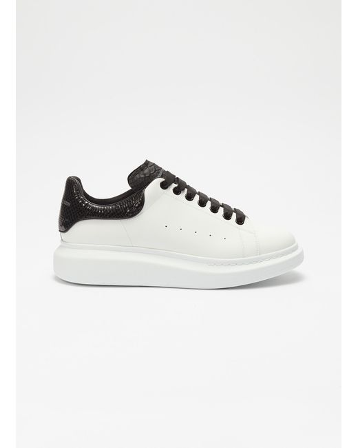 e37e55f76a29 Alexander McQueen - Black  larry  Snake Embossed Collar Chunky Outsole Leather  Sneakers for Men ...