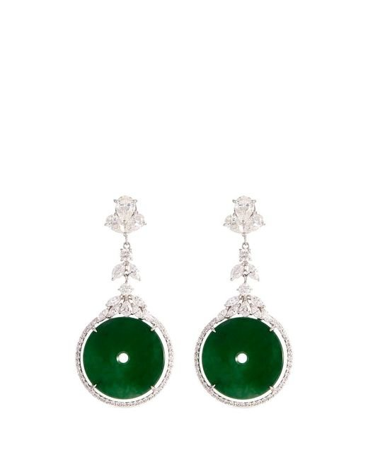 LC COLLECTION - Metallic Diamond Jade 18k Gold Cutout Disc Drop Earrings - Lyst