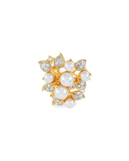 Kenneth Jay Lane Metallic Glass Crystal Faux Pearl Vine Ring