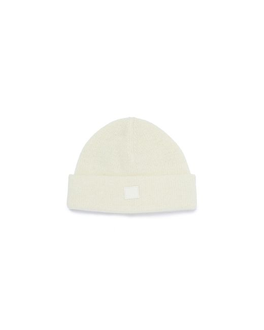 Acne White Face Patch Wool Blend Rib Knit Beanie