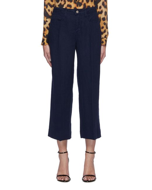 L'Agence Blue 'danica' Wide Leg Crop Jeans