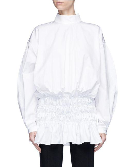 Ellery | White 'my Muna' Cocoon Sleeve Smocked Peplum Hem Shirt | Lyst