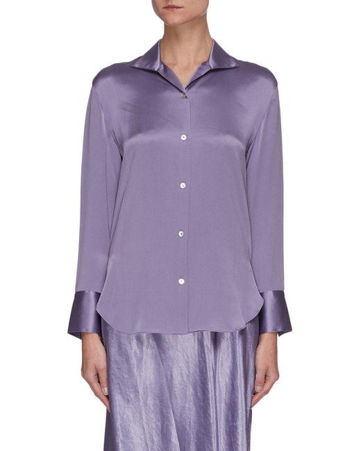 Vince Purple Flare Satin Cuff Silk Shirt
