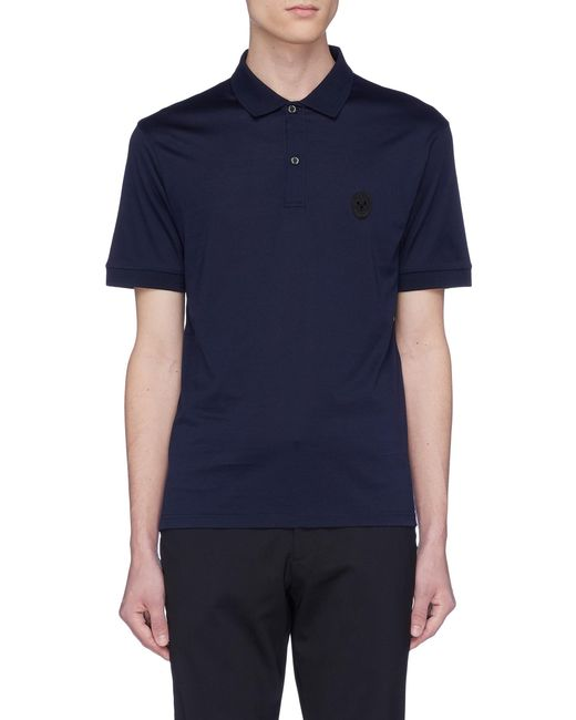 Alexander McQueen - Blue Skull Patch Jersey Polo Shirt for Men - Lyst