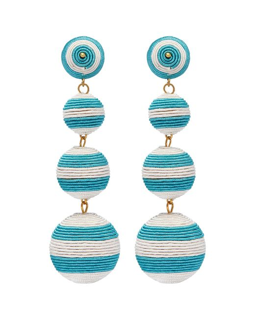 Kenneth Jay Lane - Blue Stripe Threaded Sphere Clip Drop Earrings - Lyst