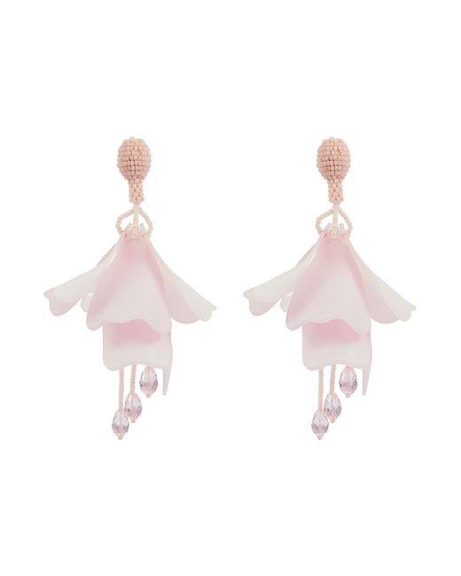 Oscar de la Renta - Pink 'large Impatiens' Petal Glass Crystal Drop Clip Earrings - Lyst
