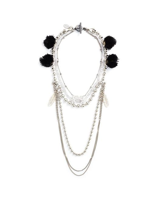 Venna - Metallic Multi Chain Pompom Necklace - Lyst