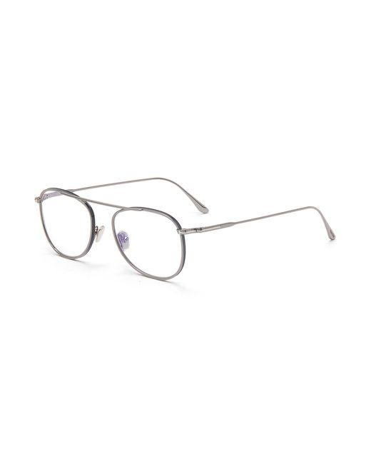 Tom Ford Gray Blue Filter Metal Frame Optical Aviator Glasses for men