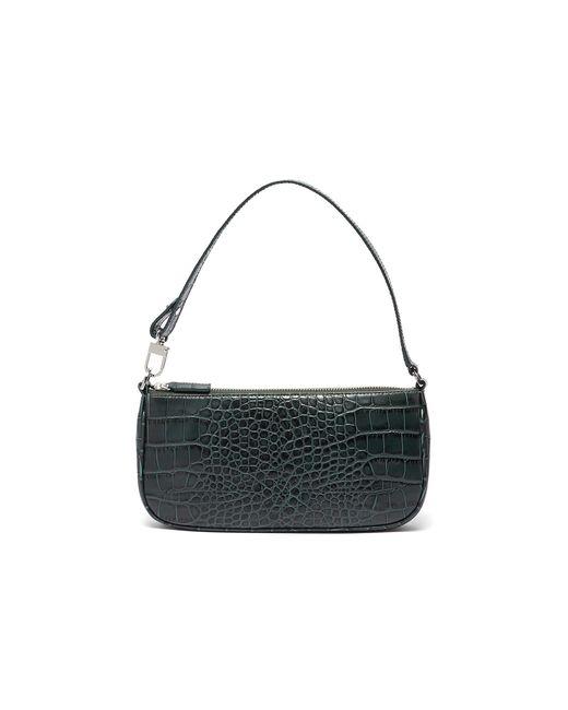 By Far Green 'rachel' Croc Embossed Handle Bag