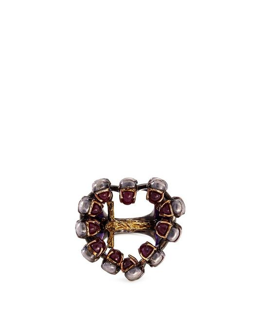 Delfina Delettrez | Metallic Ruby 18k Gold And Silver Skull Cross Ring | Lyst