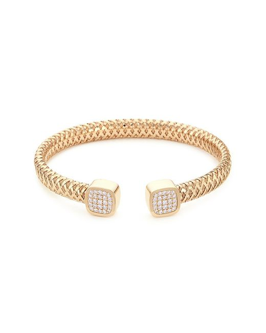 Roberto Coin - Metallic 'primavera' Diamond 18k White And Yellow Gold Cuff - Lyst