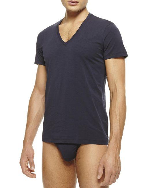 La Perla | Blue New V-neck T-shirt for Men | Lyst