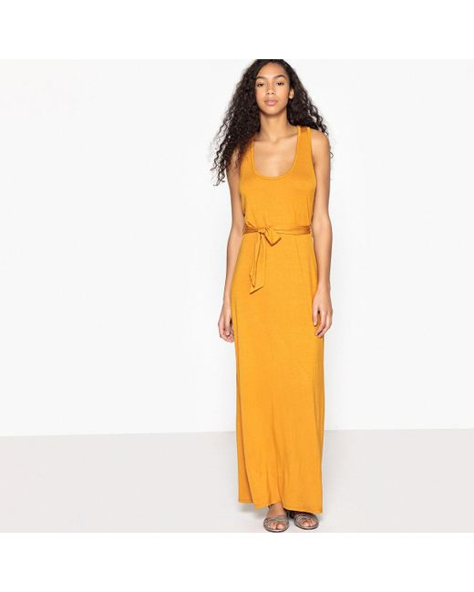 LA REDOUTE - Orange Belted Maxi Dress With Cross Back Straps - Lyst