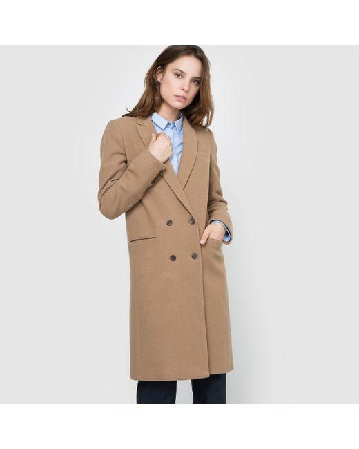 LA REDOUTE | Natural Straight Cut Wool Mix Coat | Lyst