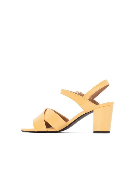 La Redoute Collections Patent Yellow Crossover Strap Sandals shopping online best wholesale sale online for sale official site cheap price high quality buy online HDR8pa