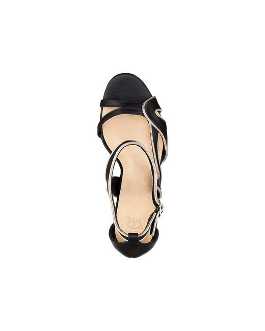 9c9fdf535 ... LA REDOUTE - Black Leather Sandals With Asymmetric Straps - Lyst ...