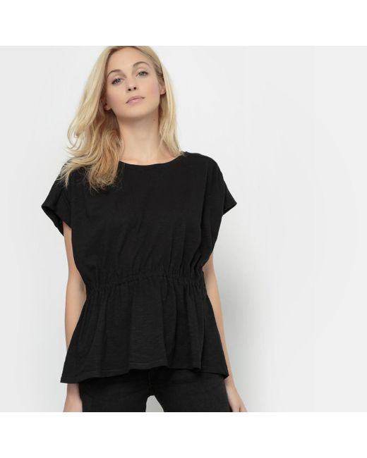 LA REDOUTE | Black T-shirt With Dropped Waist | Lyst