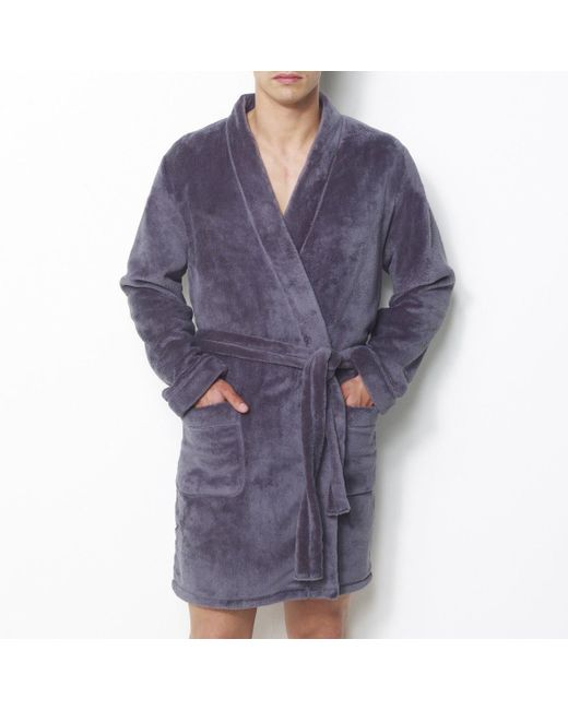 LA REDOUTE - Gray Fleece Bathrobe With Kimono Collar for Men - Lyst