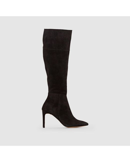 LA REDOUTE - Black Suede Leather Boots - Lyst