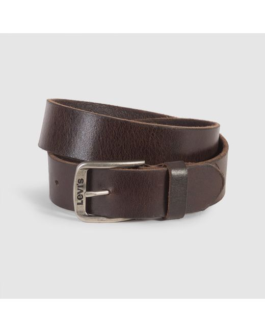 levi s classic top logo bukkle leather belt in brown for