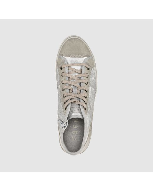 esprit high top trainers in gray iridescent grey save. Black Bedroom Furniture Sets. Home Design Ideas