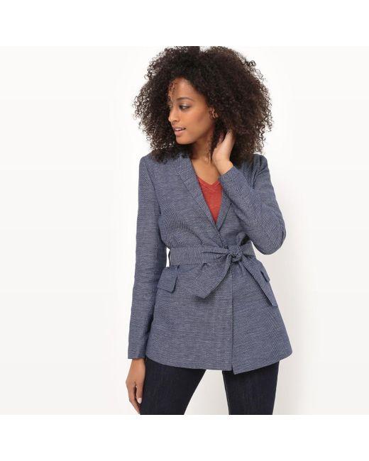 LA REDOUTE   Blue Cotton/linen Long Belted Jacket   Lyst