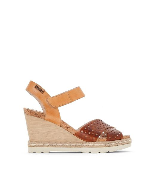 Pikolinos | Brown Bali Leather Wedge Sandals | Lyst