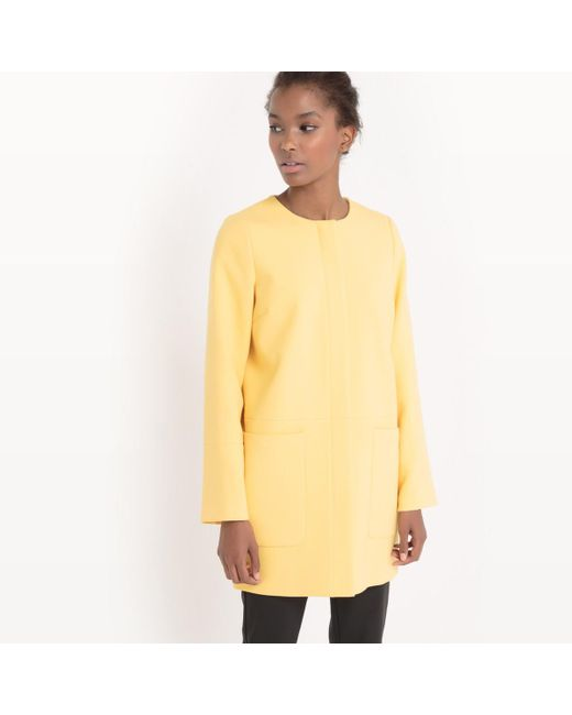 LA REDOUTE - Yellow Collarless Coat - Lyst