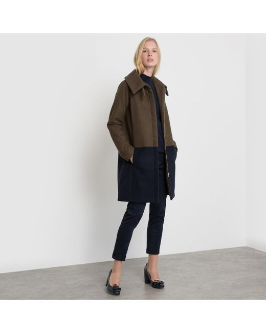 LA REDOUTE - Blue Two-tone Coat With Stand-up Collar - Lyst