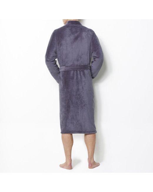 LA REDOUTE | Gray Fleece Bathrobe With Kimono Collar, 90 Cm Long for Men | Lyst