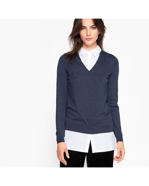 LA REDOUTE | Blue Fine Knit Jumper/sweater With Polo Shirt Collar | Lyst